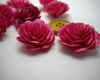6 pc Satin ROSE Roses Pin Brooch Hat Hair Accessory Baby Girls Bow Headband Quilting