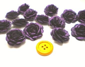 6 pc Satin Purple Roses Pin Brooch Hat Hair Accessory Baby Girls Bow Headband