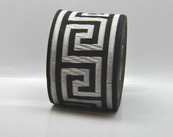 Black and Silver Jacquard Greek Key Tape