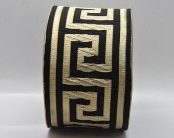 Black and Gold  Greek Key Jacquard Ribbon Trim 50 mm