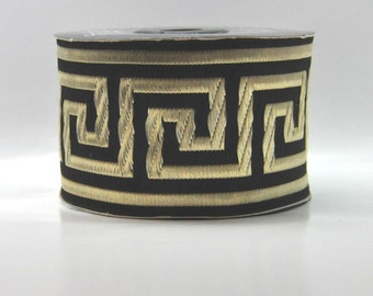 Black and Gold  Greek Key Jacquard Ribbon Trim