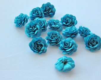 6 pc Satin  Turquoise   Roses Pin Brooch Hat Hair Accessory Baby Girls Bow Headband Quilting