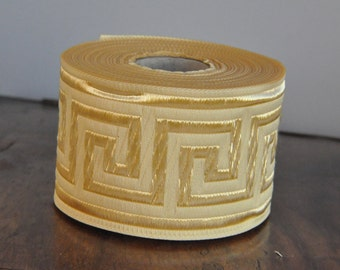 Cream  and Gold  Greek Key Jacquard  Ribbon  Trim