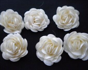 6 pc Satin Cream Roses  Pin Brooch Hat  Hair Accessory Christmas Baby Bow Headband