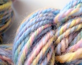 Handspun yarn - pastel rainbow - Handspun art yarn - worsted Aran weight wool - supplies - variegated - baby - yarn shop - indie yarn