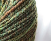 Handspun yarn - worsted weight wool - moss green - variegated - 158 yards, knitting yarn