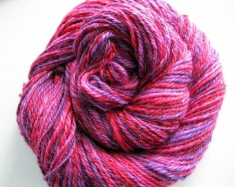 Handspun yarn - light worsted weight wool, hand spun wool, pink, purple, variegated yarn, yarn shop