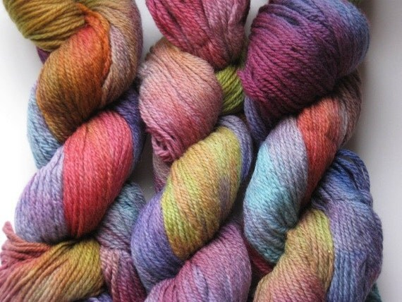 Hand dyed, worsted knitting yarn