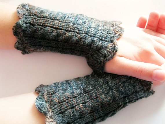 Wrist warmers - hand knitted, cable, fingerless cuffs, grey, brown, merino wool