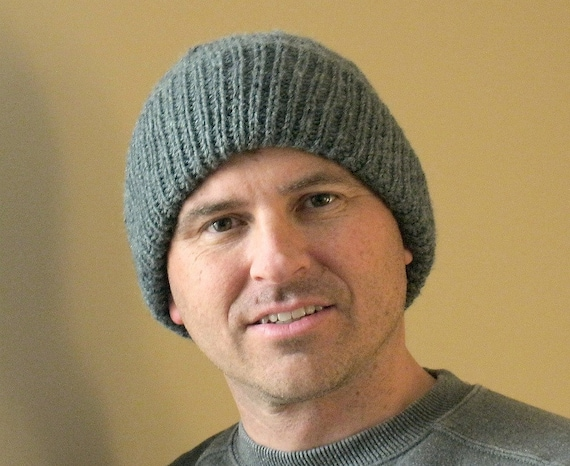 Mens Winter hat hand knit gray toque gift for him Watch