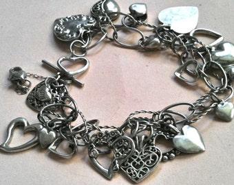 Perfect for Saying Happy Valentine's, I LOVE YOU-  A 19 Heart  Sterling Silver Charm Bracelet