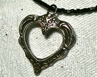 Perfect For Valentine's! A Hand Carved Victorian Cut Out Fine Silver Heart Pendant on Vintage Black Seed Beads