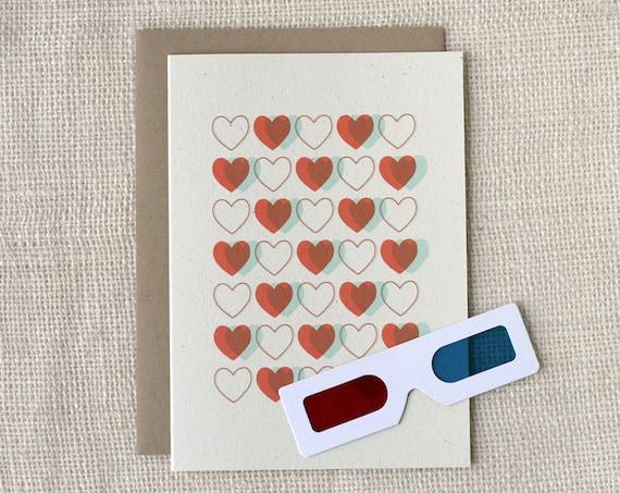 Anniversary / Love Card - 3D Hearts