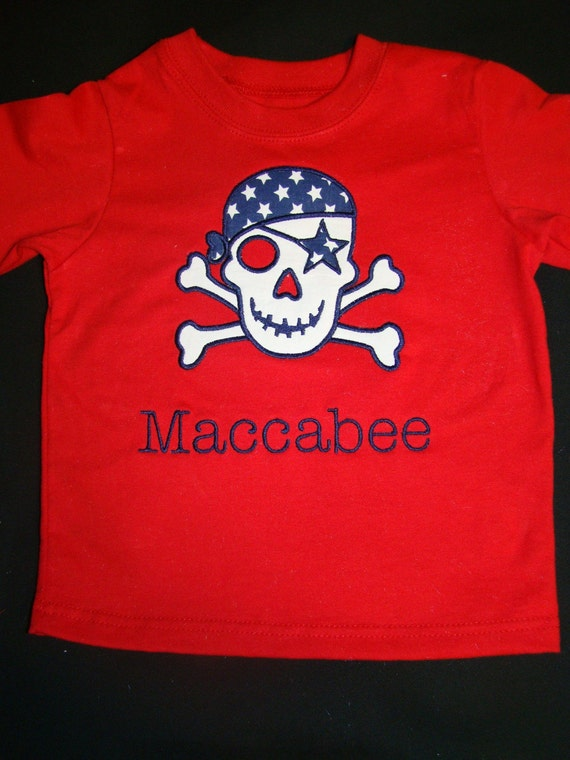 4th Fourth of July Holiday applique Pirate red shirt for boy with star eye patch