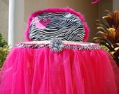 Zebra Minnie High Chair Cover & Matching Tulle Skirt