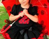 Sassy Little Ladybug Ribbon Tutu Birthday Outfit