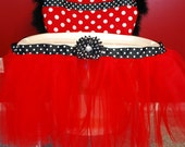 Red Polka Dot Minnie Mouse, Ladybug or Olivia Theme High Chair Cover & Matching Tulle Skirt