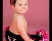 Smash Cake Birthday Party Package A -includes Custom Top, Diaper Cover, Leg warmers & Hair Accessory