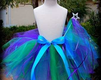 Fancy Nancy Inspired Streamer Tutu, Crown and Magic Wand BIRTHDAY Set -YOU CHOOSE THE COLORS