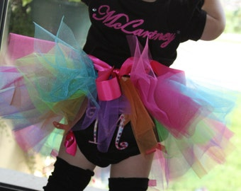 Multi Colored Dots Birthday Tutu Outfit -size newborn up to size 6