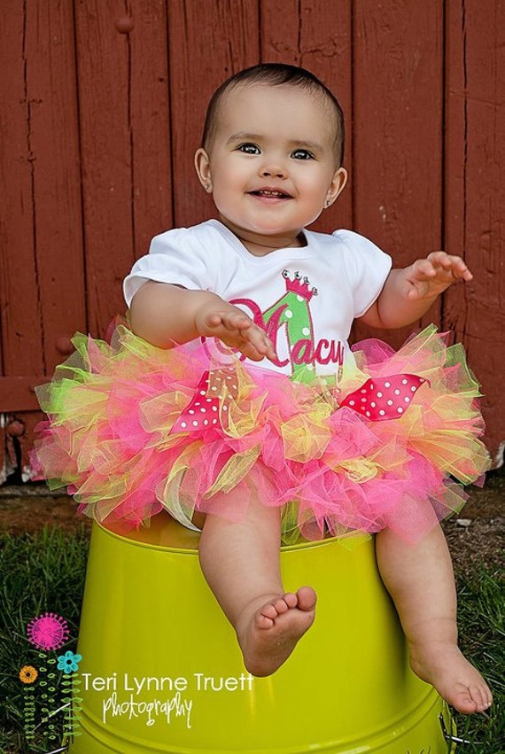 Girls Birthday Outfit-  Hot Pink and Lime Green Polka Dot Birthday Tutu Outfit Made with any letter or number