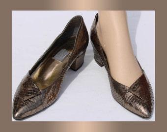 Vintage 1980s Bronze Snakeskin Leather Shoes  9 1/2 Medium