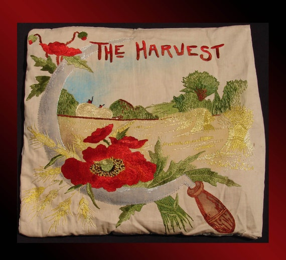 Antique Arts & Crafts Embroidered Poppy Cushion Cover // entitled The Harvest