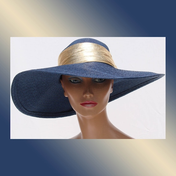 ON HOLD Vintage 1980s Royal Blue Straw Hat // with Wide Brim and Gold Band Whittall & Shon