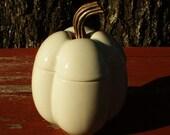 Pottery Pumpkin Pepper Covered Dish Metal Stem
