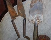 Vintage Primitive Rusty Garden Clippers Spade Tools All Metal