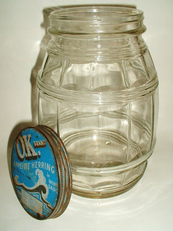 Vintage Glass Barrel Gallon Herring Jar Anchor Hocking