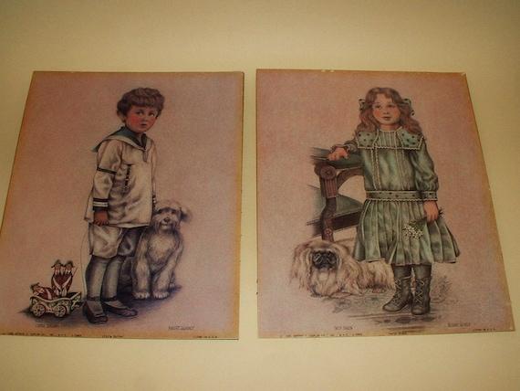 Victorian Children Dog Art Prints Litho 1986 Robert Gentry Set of 2