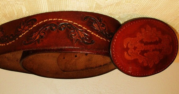 mens leather tooled belt snap on tools buckle by