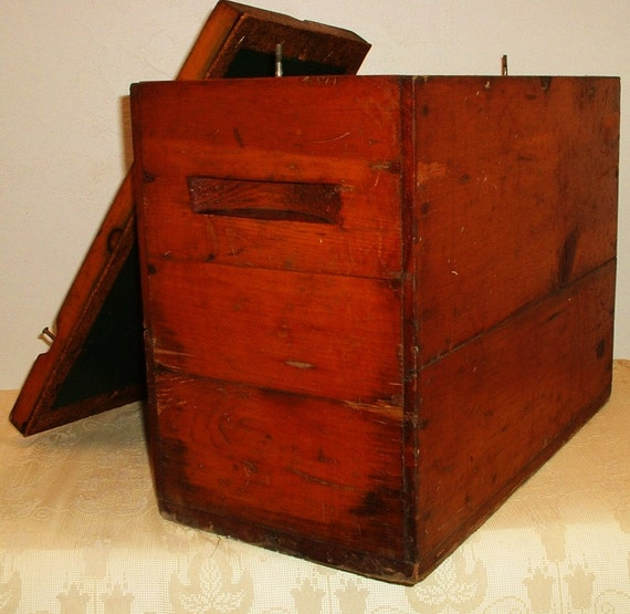 Antique Wood Cooler Ice Box Metal Lined ... Could be the oldest cooler in the world