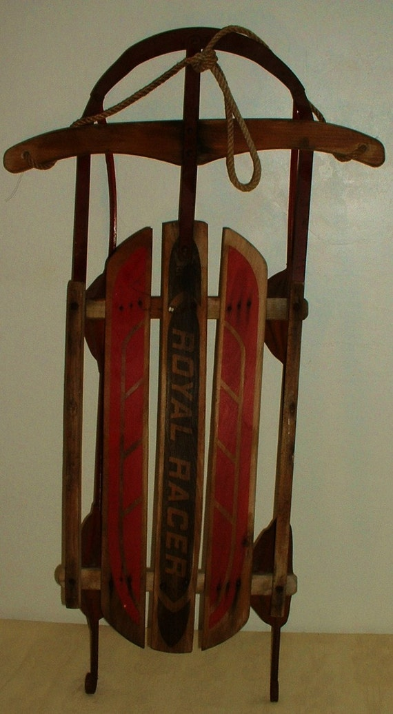 Antique wood snow sled royal racer winter decor or great photo for Antique sled decoration