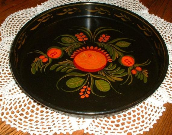 Vintage Enamelware Tole Painted Round Tray Folk Art