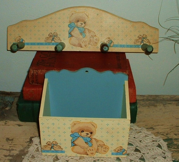 Nursery Wood Wall Decor : Items similar to vintage nursery decor wood peg rack