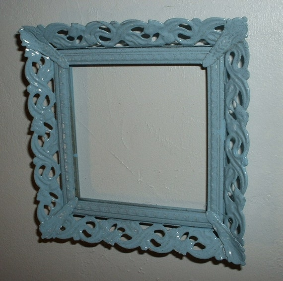 Upcycled Vintage Metal Frame Soft Blue