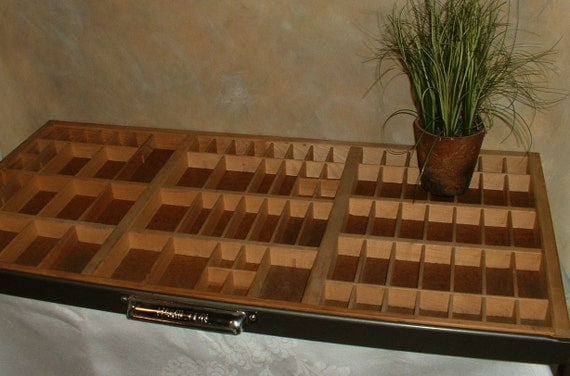 ONLY 1 LEFT ...Large Vintage Wood Letterpress Drawer in  Industrial Metal Mid Century Style