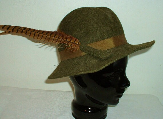 Vintage Wool Felt Hat Olive Army Green with Pheasant Feather Womens by Doeskin