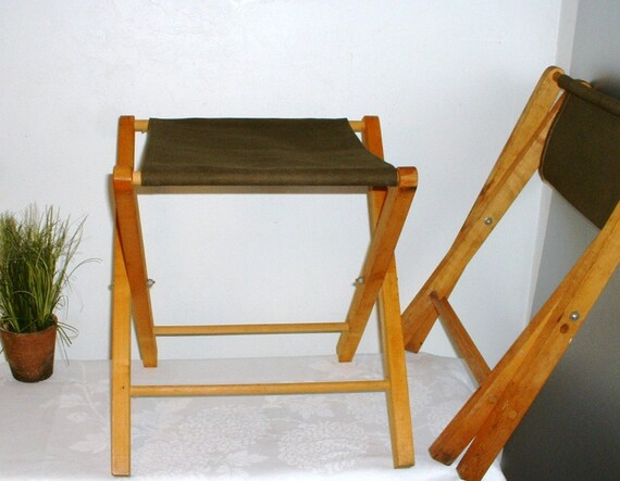 Vintage Wood Folding Camp Stool Army Green Canvas Seat Extra