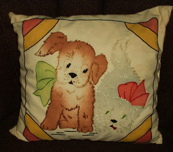 Vintage Embroidered Decorative Pillow Puppy Dog Cat Kitten SWEET