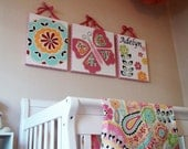 RESERVED for alisonogles - Set of 3 Butterfly & Flowers Canvas to Match Petite Paisley - 46 x 18 Total Size