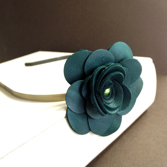 Forest green leather flower headband