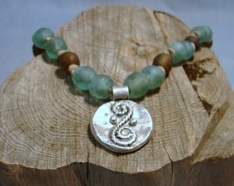 Unique African Glass Necklace with Artisan Rope Swirl Fine Silver Pendant