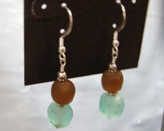 Recycled African Sea Foam and Smokey Topaz Glass Earrings