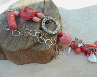 Stunning Pink Coral  Cherry Quartz Sterling Silver Necklace