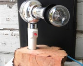 Blow. lamp. reclaimed vintage hair dryer and natural wood base