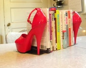 cherry red reclaimed stiletto bookends