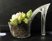 Slay Belle. stiletto succulent  planter reclaimed high heel. eco friendly indoor gardening